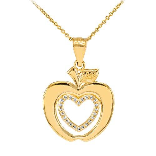 Damen Anhänger Halskette 9 Karat Gelbgold Apfel Herz (Kommt mit einem 45cm Kette)