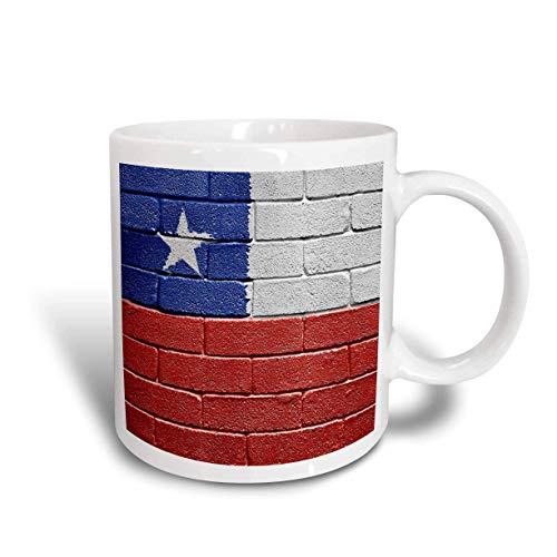 Mug_155205_2 Taza de cerámica chilena con la bandera nacional de Chile pintada sobre una pared de ladrillo