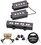 Seymour Duncan Quarter Pound P-J Set - High Output Precision Jazz Bass Pickups (Black) Bundle with 10-FT Straight Instrument Cable (1/4in), 2x Patch Cables, and 4x Guitar Picks