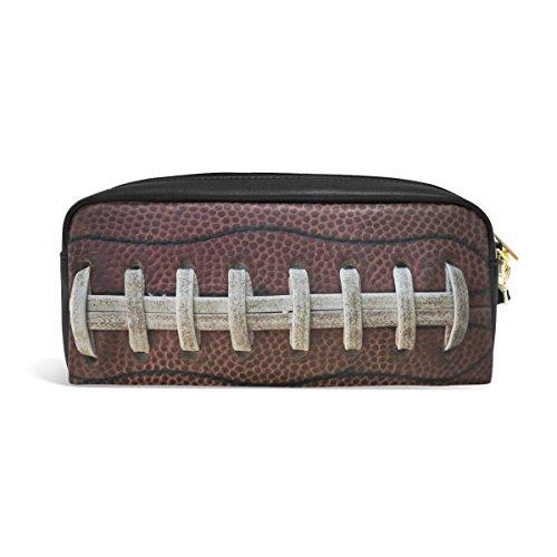 ZZKKO Federmäppchen mit American Football-Schnürsenkel, Leder, Reißverschluss, für Stifte, Schreibwaren, Kosmetik, Make-up-Tasche