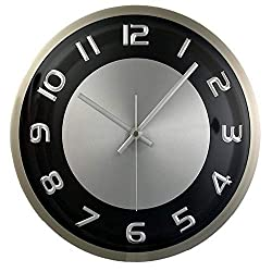 Timekeeper Products LLC, 300RAB, Round 11.5 Clock Metal Silver Black Accents, 1