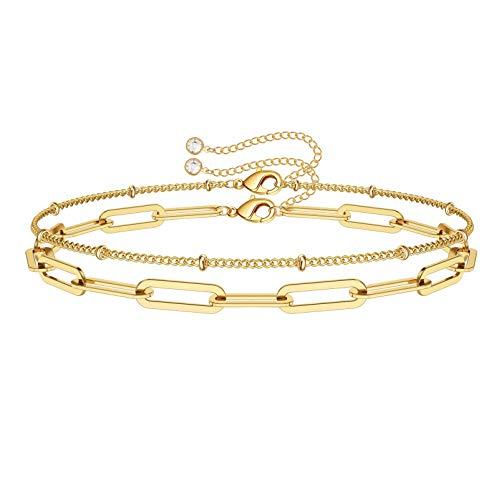 Dainty Layered Bracelets for Women, 14K Gold Filled Adjustable Layering Oval Chain Bracelet Cute Gold Layered Bead Chain Bracelets for Women Jewelry(Oval Chain & Bead Chain)