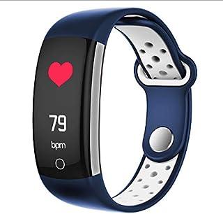 Q6 - Pulsera inteligente para monitor de ritmo cardíaco, con pantalla a color, IP68, impermeable, color azul y blanco