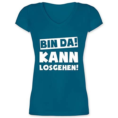 Sprüche - Bin da kann losgehen - M - Türkis - Bin da kann losgehen Damen - XO1525 - Damen T-Shirt mit V-Ausschnitt