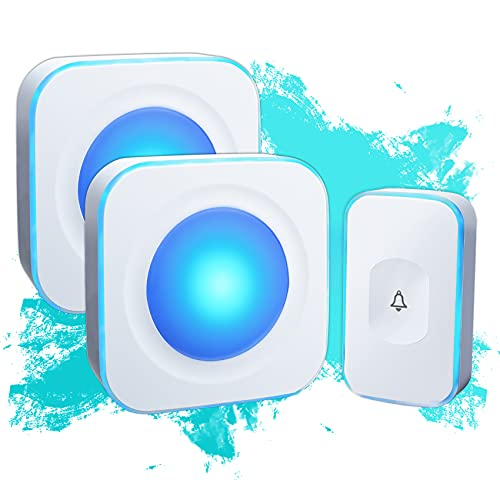 Wireless Doorbell Waterproof Door Bell Operating at 1000 feet with Flash LED Light 36 Melodies 4 Volume Levels (2 Receivers& 1 Touch Button, White JSIEEM)