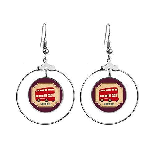 UK Londen dubbeldekker bus stempel oorbellen Dangle Hoop sieraden Drop Circle