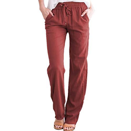 Pantalones De Mujer De OtoñO E Invierno Pantalones Rectos De Lino Informal Urbano con Cintura EláStica De Color SóLido Suelto