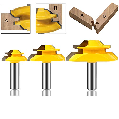 LEATBUY 45°Lock Miter Router Bit Tongue and Groove Set,1/2 Inch Shank Wood Milling Cutter Drilling Carbide Tool for Door Table Cabinet Shelve Wall DIY Woodwork (1/2-45 Degree)