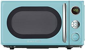 Galanz GLCMKA07BER-07 Retro Microwave Oven, LED Lighting, Pull Handle Design, Child Lock, Bebop Blue, 0.7 Cu.Ft
