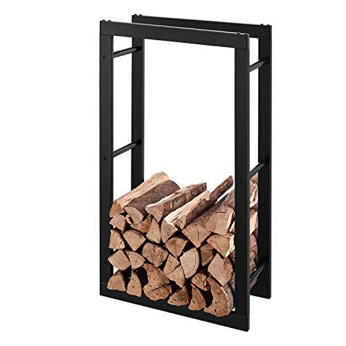 RANSENERS® Metall Kaminholzregal Feuerholzregal Brennholzregal Schwarz 70 x 27 x 158cm Stapelhilfe Aussen und Innen