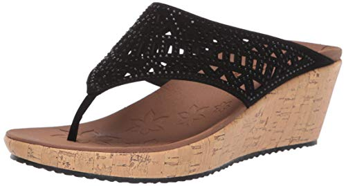 Skechers Women's Thong Wedge Sandal, Black, 9