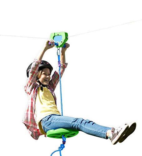 HearthSong 100' Green Kids' Backyard Zipline Kit with Adjustable Seat, Non-Slip Handles,...