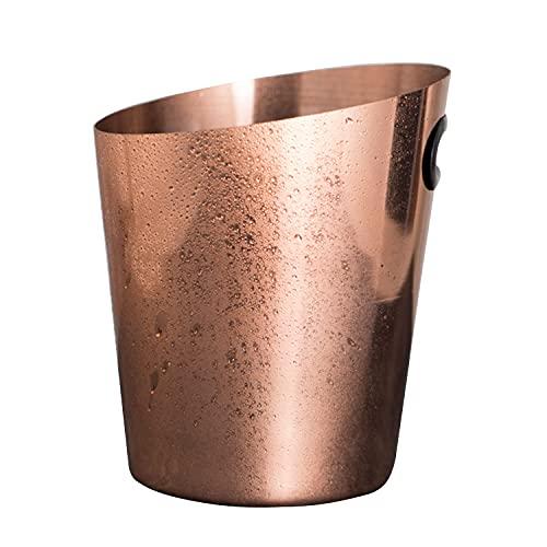 Cubo de hielo de acero inoxidable de 4 l con mango fácil de limpiar, cubo de champán, almacenamiento en frío, cesta de frutas y verduras para vino, bebidas, cerveza, bar, cocina