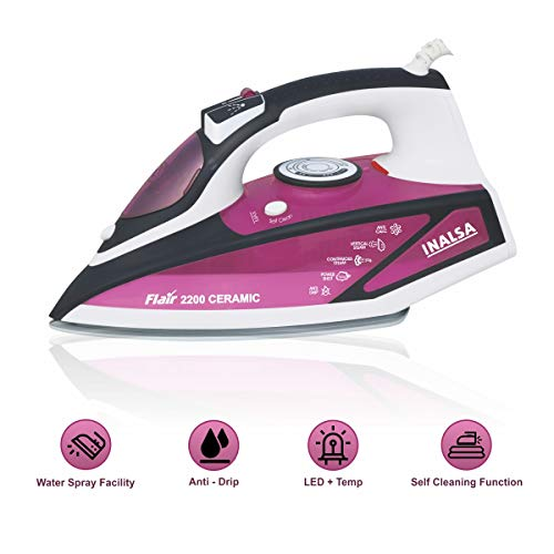 Inalsa Flair 2200 W Steam Iron, Vertical Steaming, Anti-Calcium System, Ceramic Non-Stick...