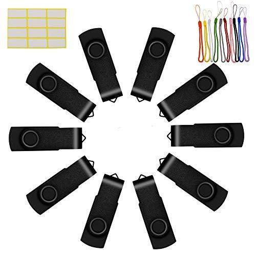 Nero Chiavetta USB 8GB Pendrive 10 Pezzi Pennette USB 2.0 Metallo Flash Pen Drive 8 Giga Penne USB Nero Uflatek 8 GB Pennetta Memoria USB con Corda
