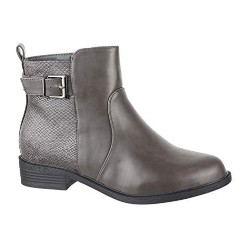 Elara Damen Stiefelette Chelsea Ankle Boots Chunkyrayan Z-31 Grey-39