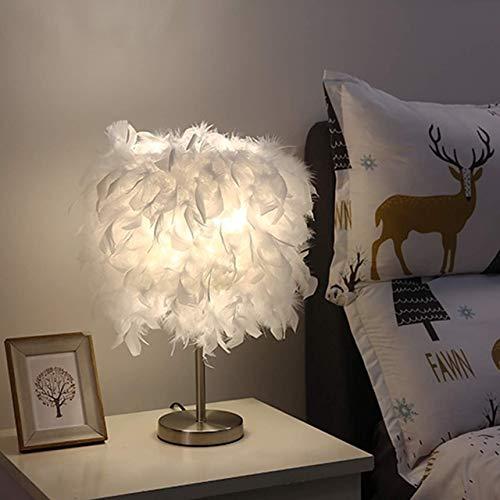 RAQ 220V Home tafellampen veer schaduw metaal nachtkastje vintage nachtlampje decor zacht vintage slaapkamer werkkamer wit China paars