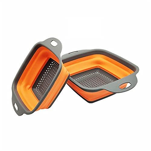 Colador plato drenaje plegable colador fruta verdura lavado cesta silicona colador collapsible drenador cocina herramientas de cocina (Color : Orange, Size : 22X29cm)
