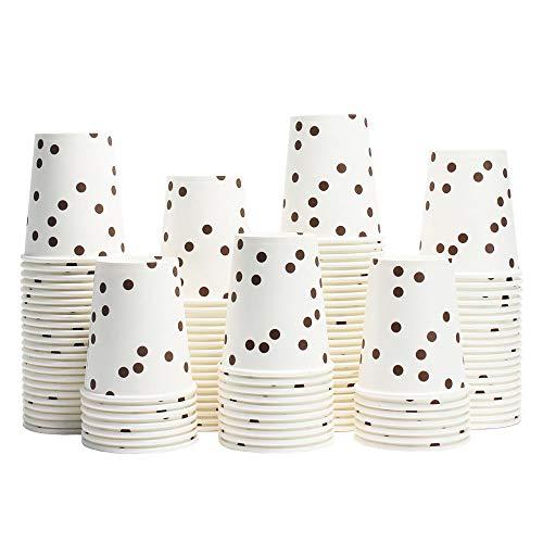 100 Piezas Vaso de Papel 9oz Vaso Desechable para Bebidas Frías y Calientes Biodegradables Vasos Desechables Cafe Marrón Dot 250ml
