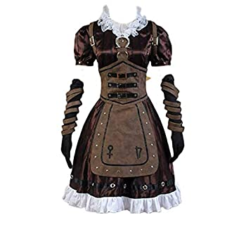 CosDaddy Alice Madness Returns Cosplay Costume Alice Stream Halloween Dress  Woman-L  Brown