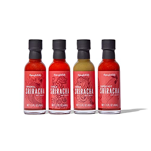 Modern Gourmet Foods, Set de Regalo de Salsa Sriracha, Incluye los Sabores Original, Ajo, Verde y Super Picante, Pack 4