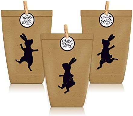 12 Pcs Happy Easter Kraft Paper Treat Bags Black Easter Bunny Chick Egg Patterned Cookie Candy product image