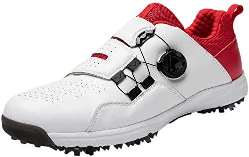 WUDAXIAN Zapatos de Golf para Adultos, Zapatillas de Golf con Clavos Unisex, Impermeables, Transpirables, Antideslizantes, Hebilla giratoria, Informal al Aire Libre, Rojo, 41EU