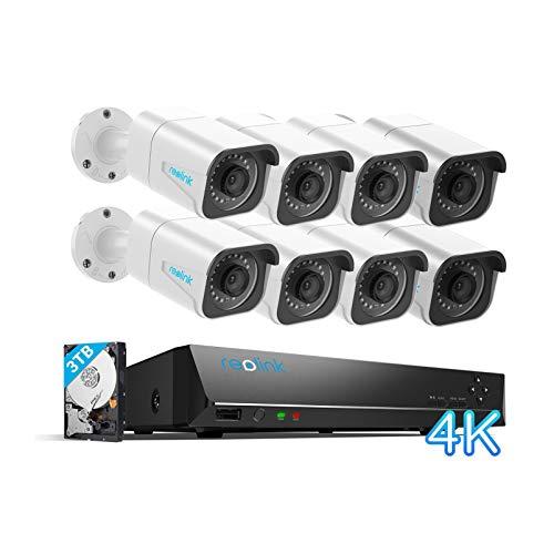 [Nueva Versión] Reolink 4K 16CH PoE Kit de Cámara de Vigilancia H.265, 8pcs 8MP Detección de Personas/Vehículos Cámaras IP PoE, 16CH NVR con 3TB HDD para 24/7 Grabación Vision Nocturna, RLK16-