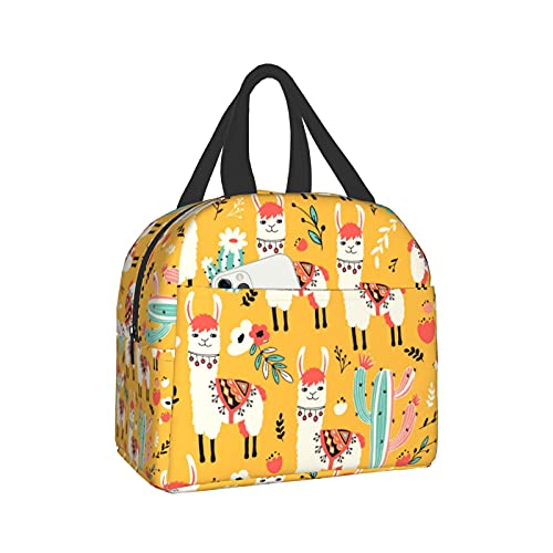 PrelerDIY Llama Flower Cactus Lunch Box - Insulated Lunch Bags for Kids Boys Girls Reusable Lunch Tote Bags, Perfect for School/Camping/Hiking/Picnic/Beach/Travel