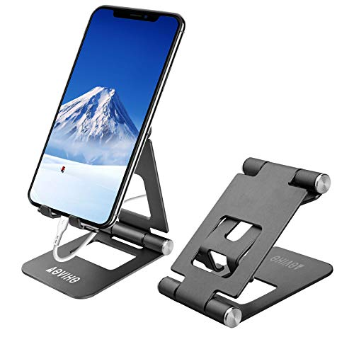 Cell Phone Stand Adjustable, Aoviho Desktop Phone Holder Aluminum Portable Phone Dock Compatible with iPhone 5 6 7 8 11 Pro 12 Mini X XR XS Max Samsung Desk Nightstand Decor (Black)