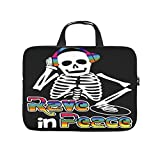 Laptop Bag Rave In Peace Skeleton EDM Fan Dust-proof Lightweight -HalloweenLaptop Sleeve Case Compatible with 13-15.6 inch MacBook Pro white 15 zoll
