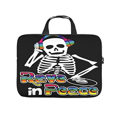 Laptop Sleeve Rave In Peace Skeleton EDM Fan Dust-proof Slim -HalloweenLaptop Sleeve Compatible with 13-15.6 inch MacBook Pro white 12 zoll