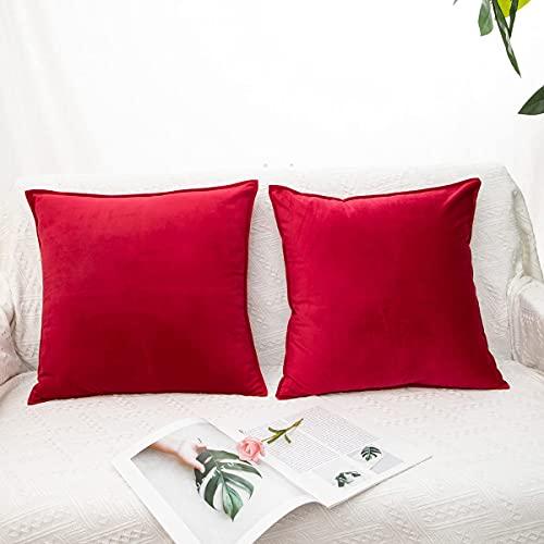 LDRHUY Decorative Housse de Coussin en Velours, Un Pack de Deux Taie d'oreiller Carrées Style Européen, pour Salon Canapé Sofa Chambres Maison (Rouge, 40x40cm)