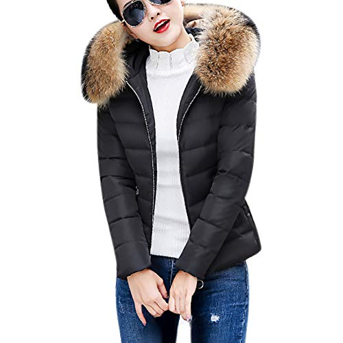 LEXUPE Women Autumn Winter Warm Comfortable Coat Casual Fashion Jacket Faux Fur Hooded Short Slim Cotton-Padded Jackets Coat Black