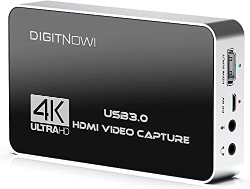 DIGITNOW 4K HD USB 3.0 Video Capture Card with HDMI Loop-Out, 4k 60Hz No Lag Passthrough for Video Recording,Support Capture Resolution Up to 4K of Highest Quality NV12 Format,Compatible with PS5/Xbox
