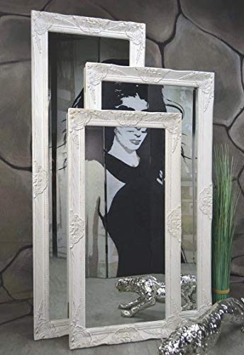 Livitat® Wandspiegel 120 x 60 cm Spiegel Badspiegel barock antik Weiß LV9021