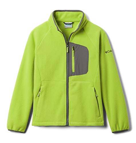 Columbia Boys' Big Fast Trek III-Fleece Full Zip, bright chartreuse/City Grey, Large