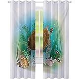 Cortinas para oscurecer la habitación, diseño de tortuga marina en el océano tropical bajo el agua, impresión de ilustración de acuario, 52 x 72 cm de ancho x 72 cm de largo