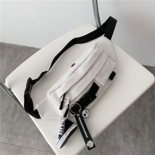 women trendy ins super fire small bag 2020 new Harajuku style crossbody canvas Casual running sports chest bag-whitewithdaisyshoes