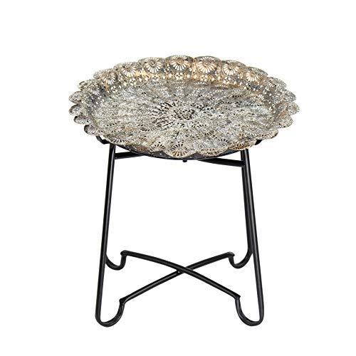 Flanacom Marokkanischer Tisch - Beistelltisch aus Metall - Orientalischer Kleiner runder Teetisch mit klappbaren Gestell - Orient Orientalisch Ornamente - Antik