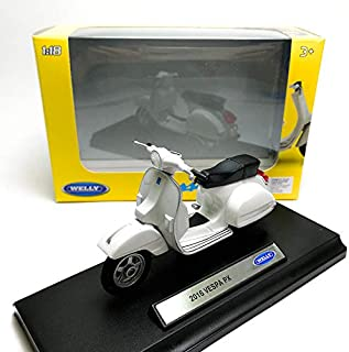 Welly 1:18 Die-cast 2016 Vespa PX Scooter Motorcycle White Model with Box Collection Christmas New Gift