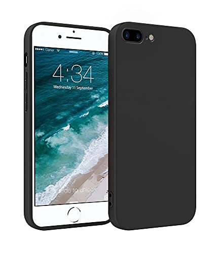ICOVERI Funda de Silicona Compatible con iPhone 6/7 / 8 Plus Negro. Carcasa Compatible con Accesorios Magsafe y Cargador Inalambrico. Funda Movil Proteccion Antigolpes.