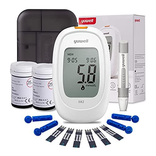 yuwell Medidor de Glucosa en Sangre, Kit de Pruebas de Diabetes con Tiras Reactivas x 50 y Lancetas x 50, Glucometro Ideal para Uso Doméstico, Pilas Incluidas