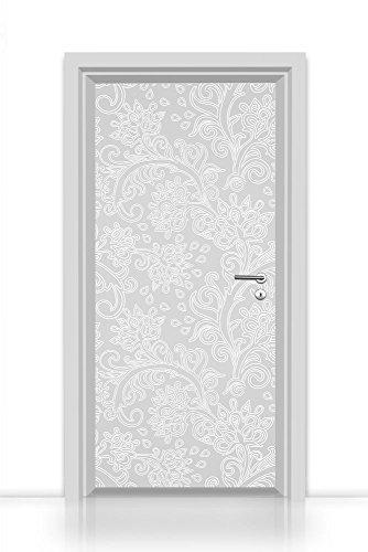 Türtapete selbstklebend einteilig (elegante florale Ornamente weiss Stuck) Türfolie 93x205cm