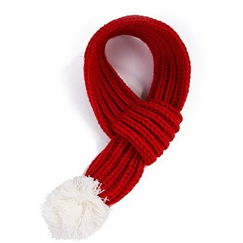 XLxiaowu Pet Kerstmis rode sjaal, Kerstmis ornament witte pompom-een rode gebreide sjaal met witte pompoms zal uw kat of hond er schattig en charmant uitzien, M, Rood