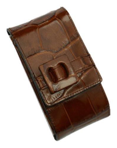 Pfeilring Trousse de manucure cuir de vache Motif peau de crocodile 3 pièces Nickel Marron