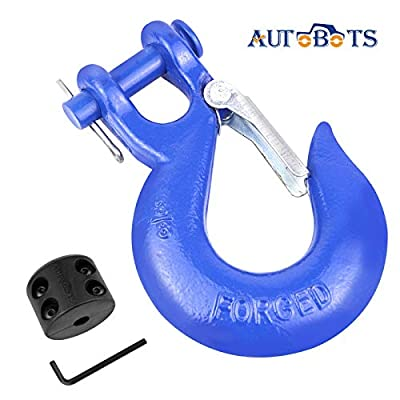 """AUTOBOTS Grade 70 Latch Clevis Slip Hook & Winch Cable Hook Stopper Sets with Heavy-Duty Forged Steel 3/8"""", Included Allen Wrench, Max 35,000 lbs,Blue & Black"""
