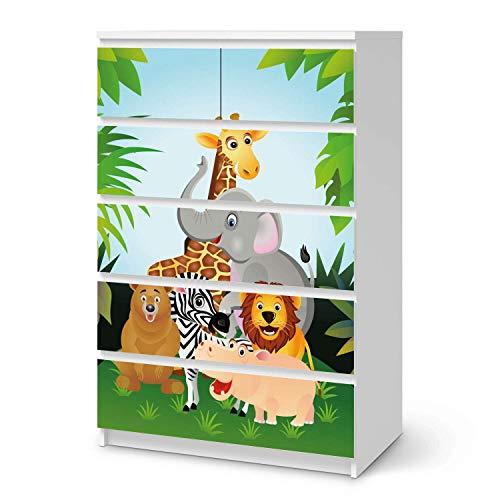 creatisto Möbel-Tattoo für Kinder - passend für IKEA Malm Kommode 6 Schubladen (hoch) I Tolle Möbelsticker für Kinderzimmer Einrichtung I Design: Wild Animals