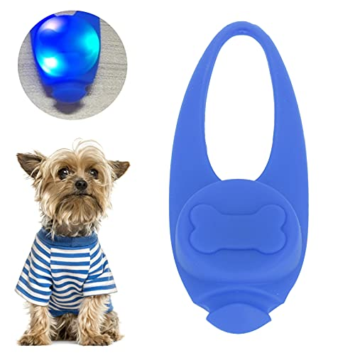 XQAQX Luz para Collar de Mascota, luz para Collar de Silicona para Perro, luz LED de Seguridad para Mascotas Colgantes para Collar de Perro, luz de Silicona con Clip para Caminar de Noche(Azul)