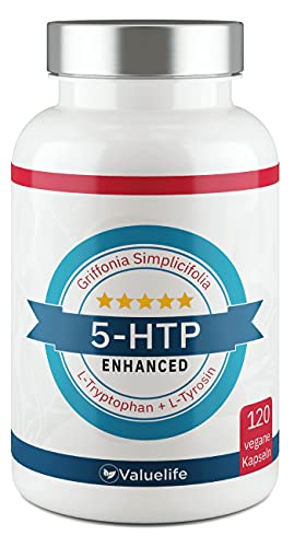 5-HTP Enhanced: VERGLEICHSSIEGER 2021* 180mg 5 HTP aus Griffonia Simplicifolia Extrakt I Plus: L-Tryptophan, L-Tyrosin, Tigergras & Vitamin B6, B12 - 120 vegane Kapseln von VALUELIFE